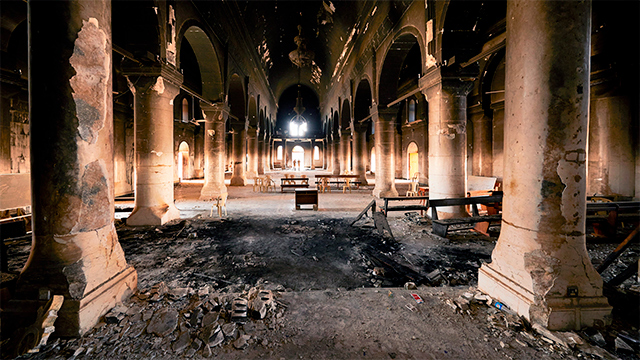 Zerstörte Kirche im Irak