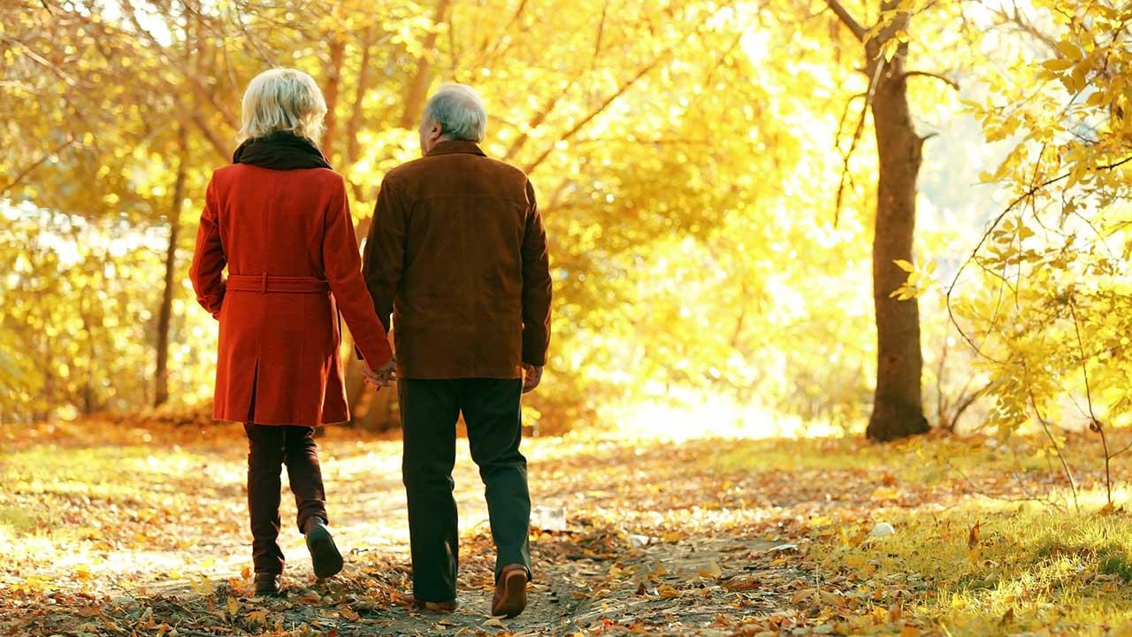 Seniorenpaar spaziert im goldenen Herbst   (c) 123rf